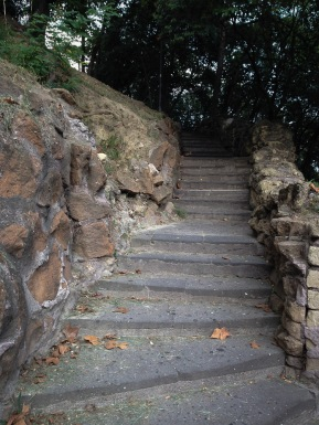 One of the gentler staircases. This shady path winds gradually up the hill.